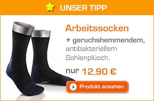 Arbeitssocken mit geruchshemmendem, antibakteriellem Sohlenplüsch für 12,90 €